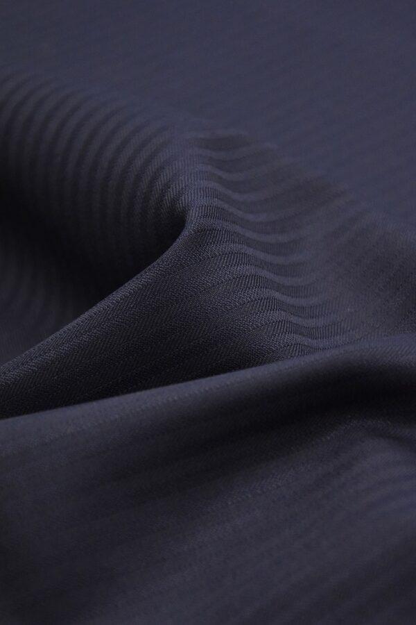 Костюмная шерсть стрейч темно-синяя в полоску (1406) - Фото 10