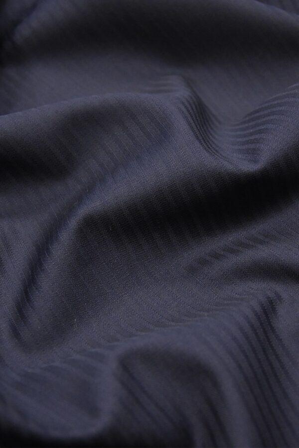 Костюмная шерсть стрейч темно-синяя в полоску (1406) - Фото 6