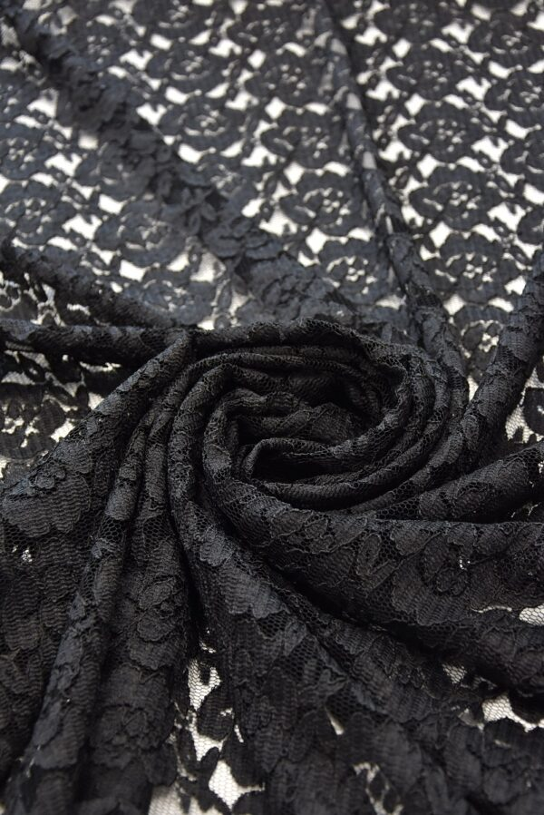 Кружево черное цветочный узор фестон (1508) - Фото 7