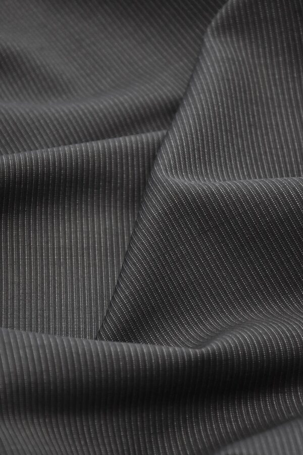 Костюмная шерсть серый-графит в полоску (1524) - Фото 6
