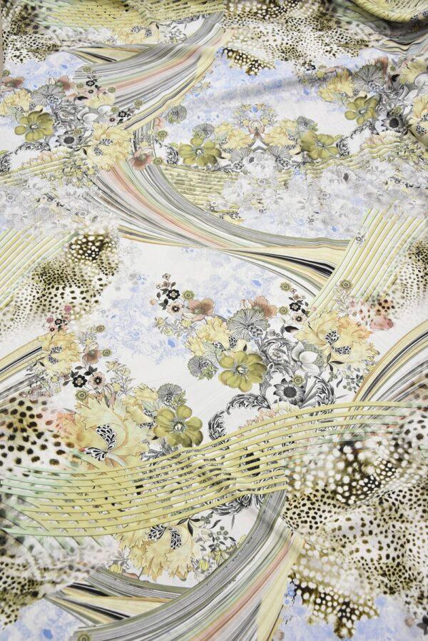 Креп цветочный принт мята (1727) - Фото 7