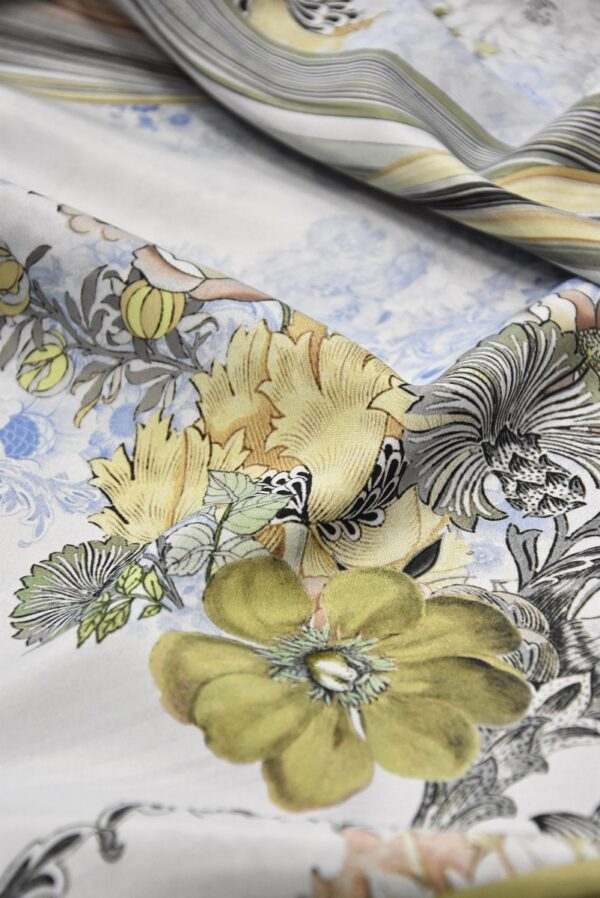 Креп цветочный принт мята (1727) - Фото 10