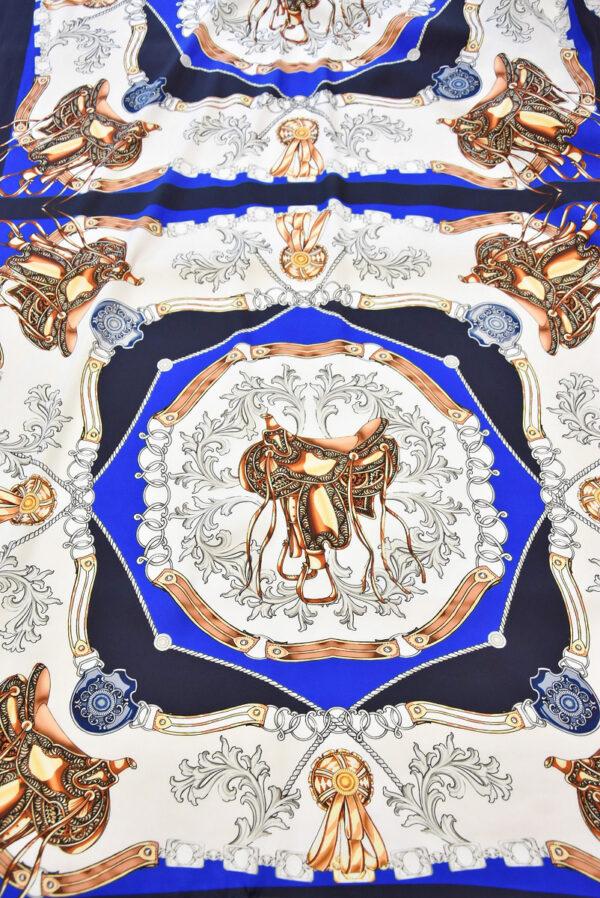 Атлас платочный принт синий седло (1810) - Фото 9