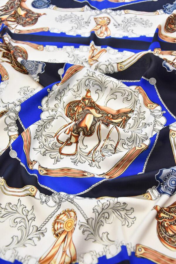 Атлас платочный принт синий седло (1810) - Фото 6