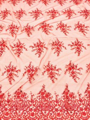 Вышивка на сетке красно-коралловое с цветами (1887) - Фото 17
