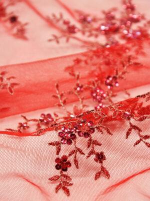 Вышивка на сетке красно-коралловое с цветами (1887) - Фото 18