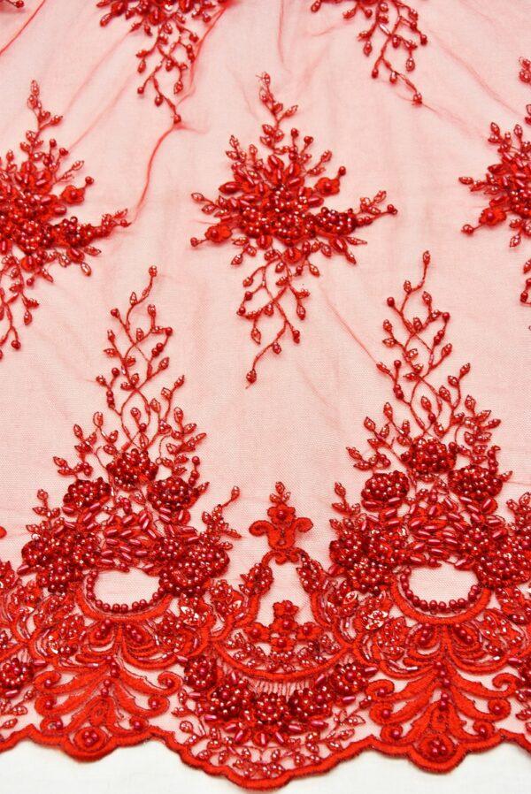 Вышивка на сетке красная цветочный узор бисер стеклярус фестоны (1890) - Фото 9