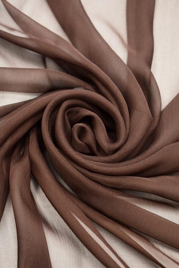 Шифон шелк коричневый с эффектом креш (1955) - Фото 7