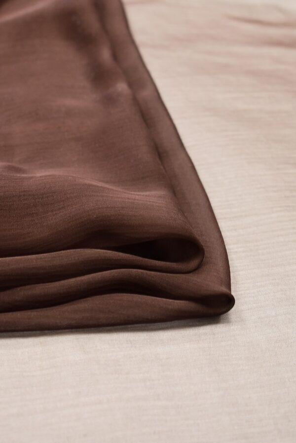 Шифон шелк коричневый с эффектом креш (1955) - Фото 8