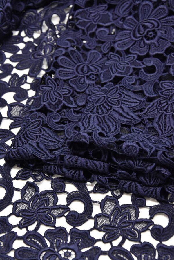 Кружево макраме темно синее с цветами (1957) - Фото 8