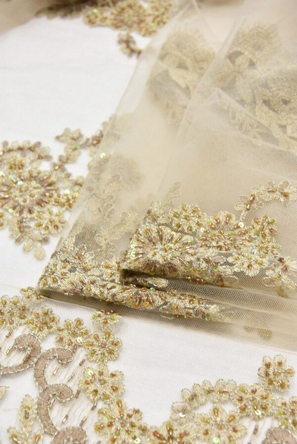 Вышивка на сетке бежевое цветы бисер стеклярус пайеткаи (1960) - Фото 8