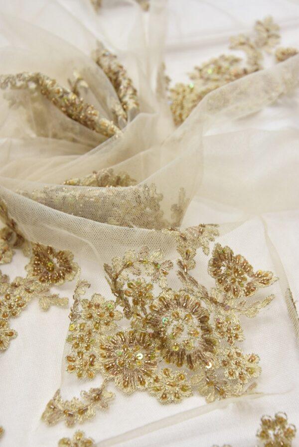 Вышивка на сетке бежевое цветы бисер стеклярус пайеткаи (1960) - Фото 9