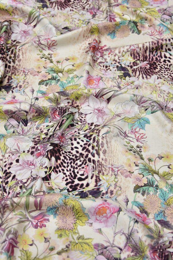Шелк с рисунком цветы леопард (2047) - Фото 6