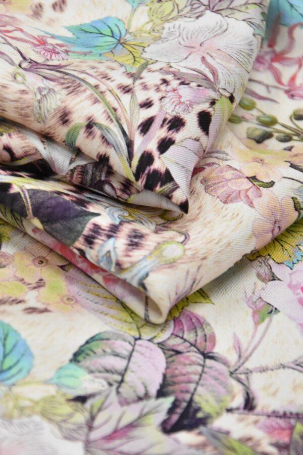 Шелк с рисунком цветы леопард (2047) - Фото 8