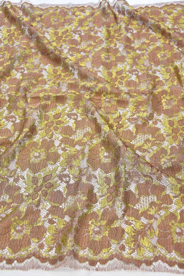 Французское кружево шантильи кремовое золотые цветы (2050) - Фото 6
