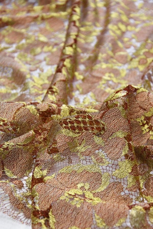 Французское кружево шантильи кремовое золотые цветы (2050) - Фото 9
