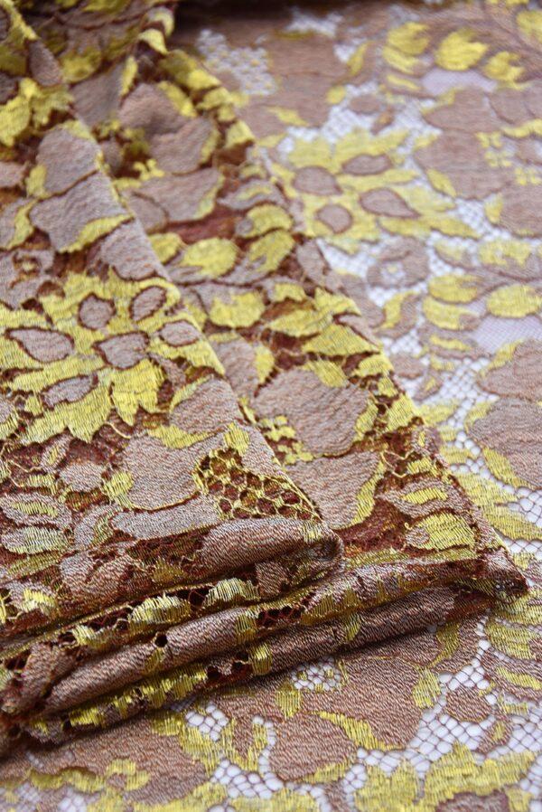 Французское кружево шантильи кремовое золотые цветы (2050) - Фото 8