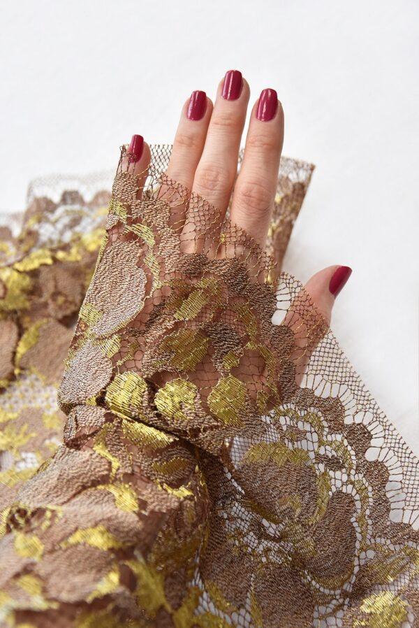 Французское кружево шантильи кремовое золотые цветы (2050) - Фото 10