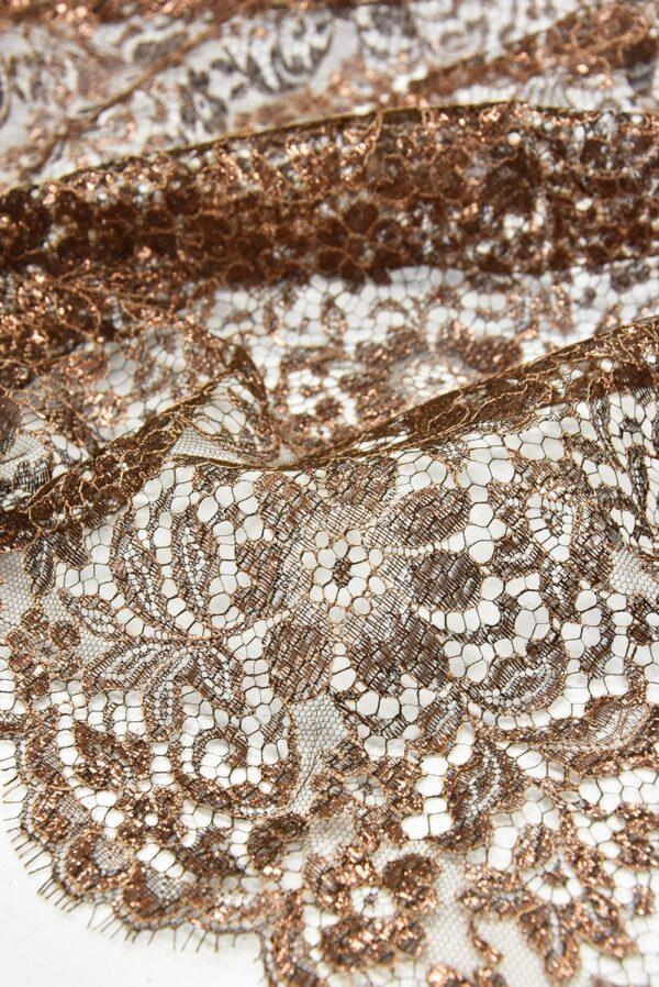 Французское кружево коричнево-медный оттенок блестящее (2051) - Фото 9