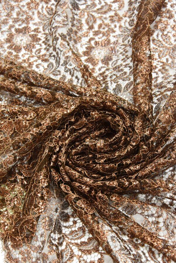Французское кружево коричнево-медный оттенок блестящее (2051) - Фото 7