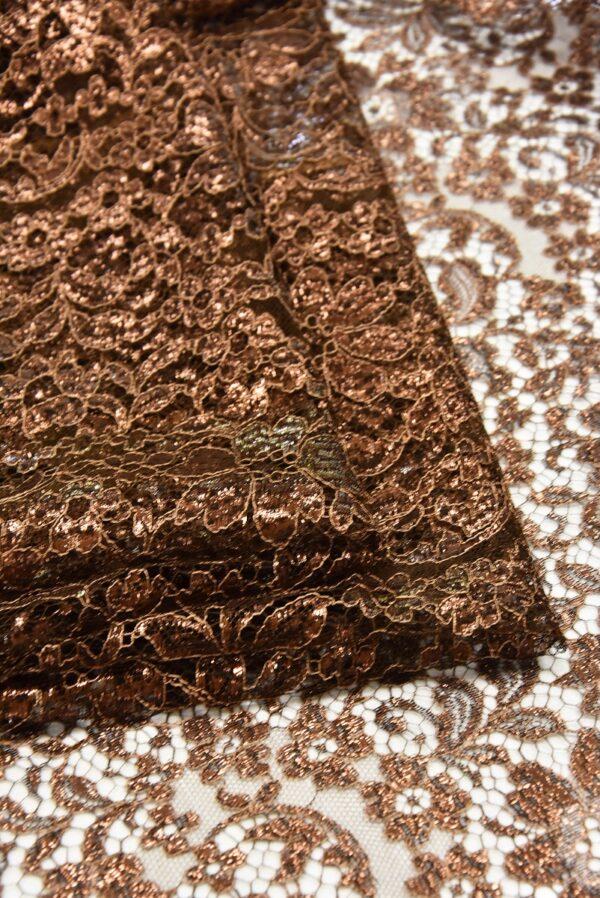 Французское кружево коричнево-медный оттенок блестящее (2051) - Фото 8