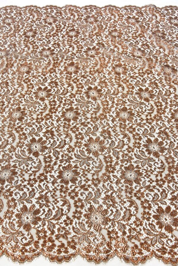 Французское кружево коричнево-медный оттенок блестящее (2051) - Фото 11