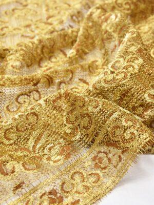 Французское кружево золото цветочный орнамент кайма (2052) - Фото 19