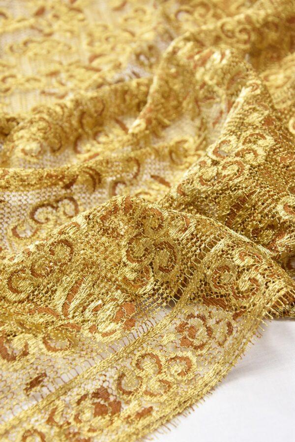Французское кружево золото цветочный орнамент кайма (2052) - Фото 7
