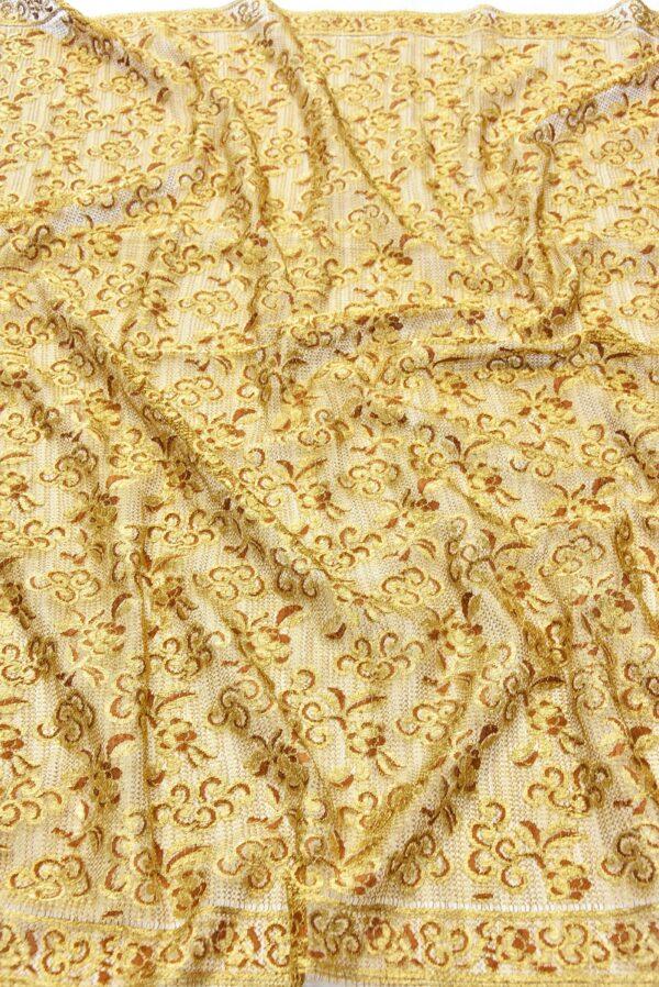 Французское кружево золото цветочный орнамент кайма (2052) - Фото 6