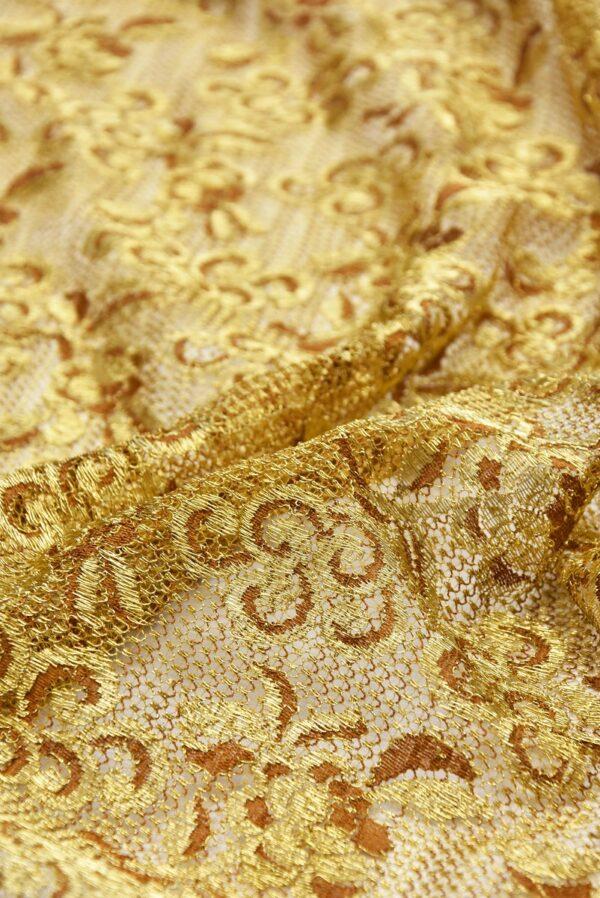 Французское кружево золото цветочный орнамент кайма (2052) - Фото 8