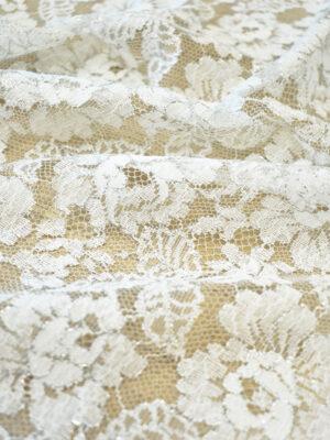 Французское кружево молочно-белое с цветами и серебряным люрексом (2053) - Фото 20