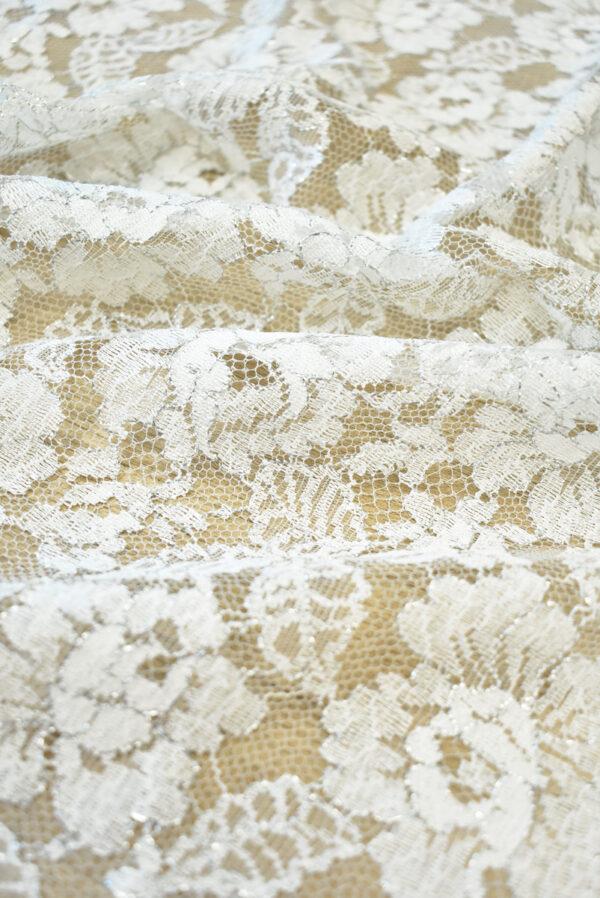 Французское кружево молочно-белое с цветами и серебряным люрексом (2053) - Фото 7