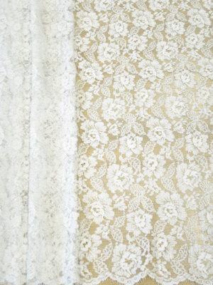 Французское кружево молочно-белое с цветами и серебряным люрексом (2053) - Фото 19