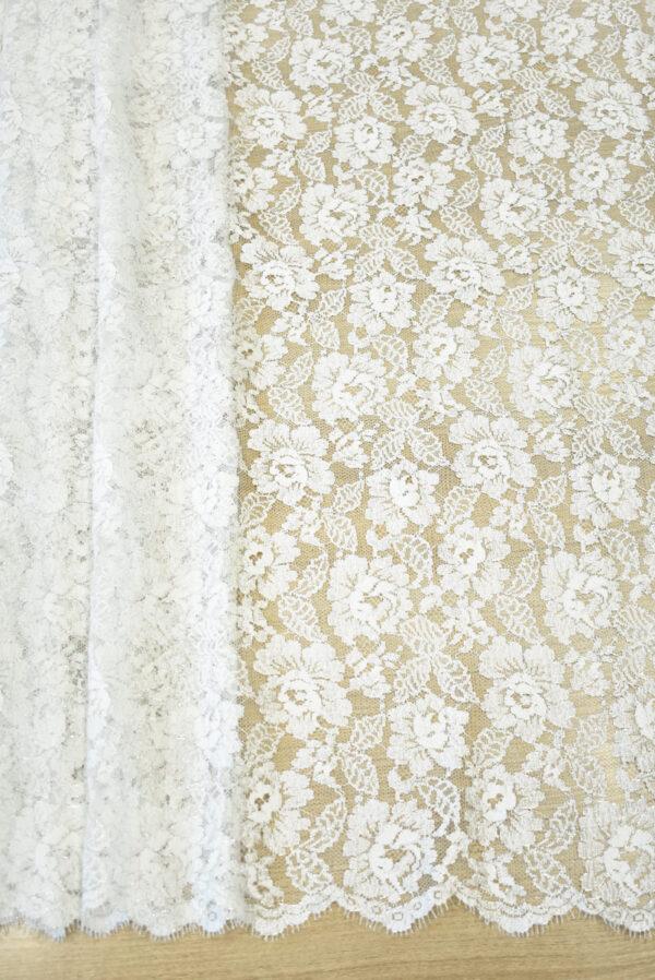 Французское кружево молочно-белое с цветами и серебряным люрексом (2053) - Фото 6
