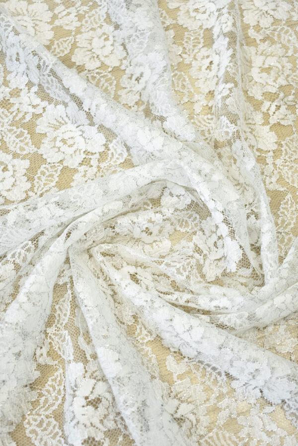 Французское кружево молочно-белое с цветами и серебряным люрексом (2053) - Фото 9