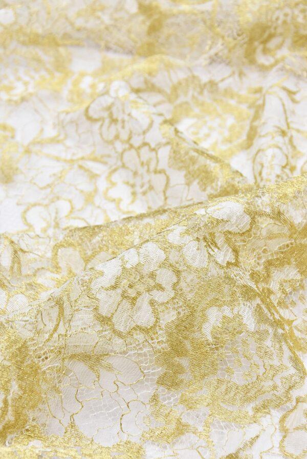 Французское кружево золотые с белым розы (2056) - Фото 8