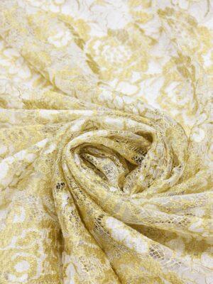 Французское кружево золотые с белым розы (2056) - Фото 15