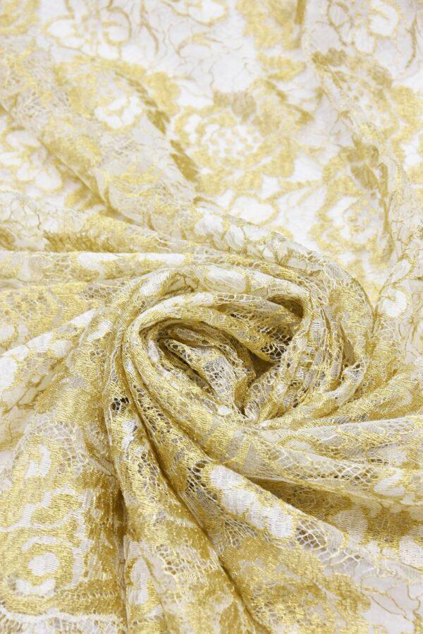 Французское кружево золотые с белым розы (2056) - Фото 7