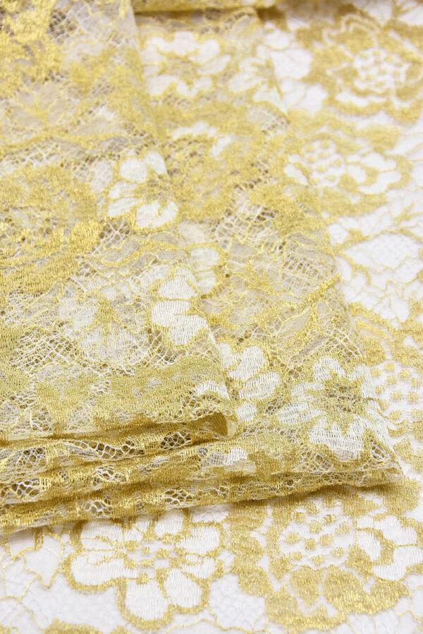 Французское кружево золотые с белым розы (2056) - Фото 9