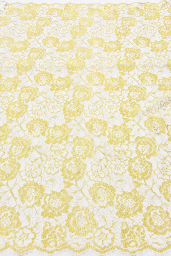 Французское кружево золотые с белым розы (2056) - Фото 10
