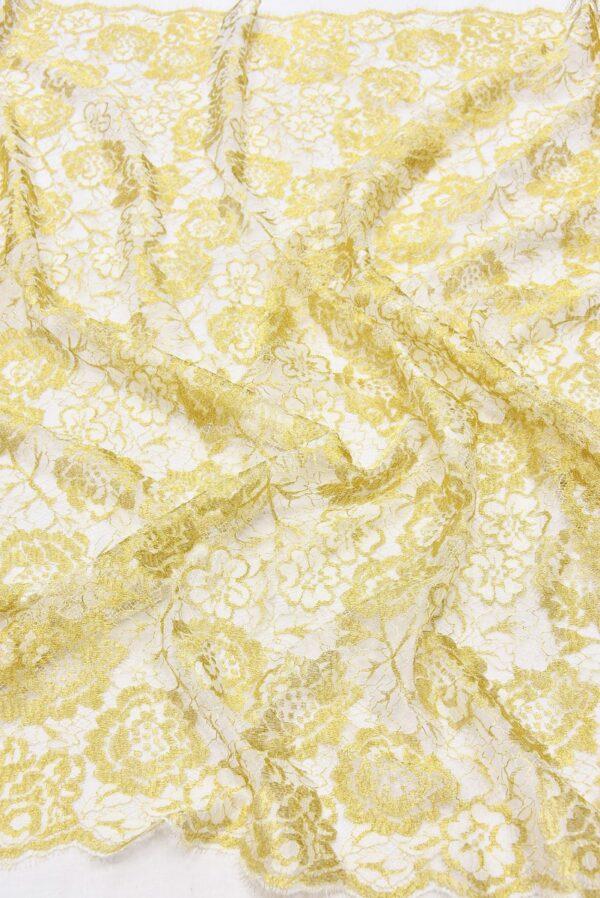 Французское кружево золотые с белым розы (2056) - Фото 6