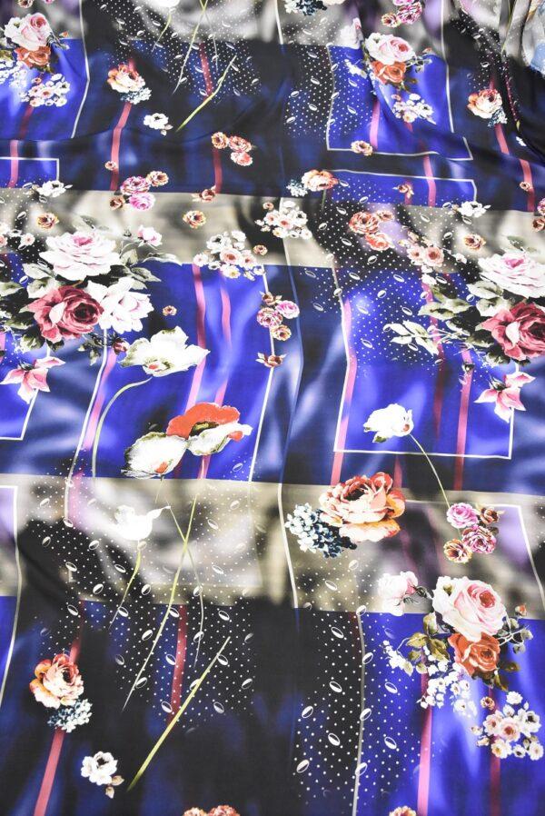Атлас с цветами и полоской на синем фоне (2079) - Фото 9