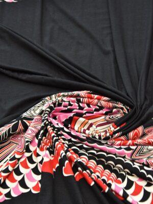 Трикотаж купон красные цветы на черном (2371) - Фото 12