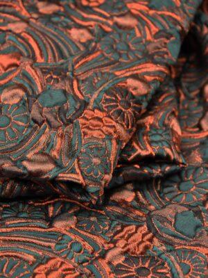 Жаккард 3Д оранжевые зеленые цветы (2477) - Фото 20