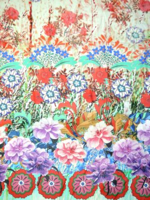Шифон шелк купон бордюр из цветов (2570) - Фото 14