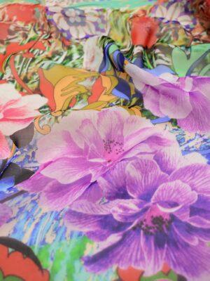 Шифон шелк купон бордюр из цветов (2570) - Фото 15