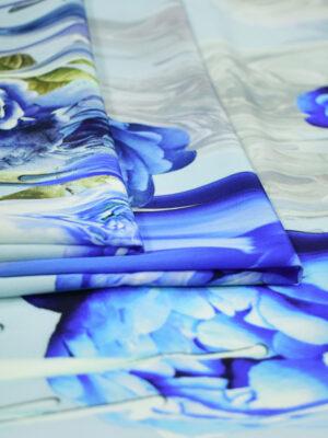 Крепдешин шелк стрейч голубые розы (2574) - Фото 19