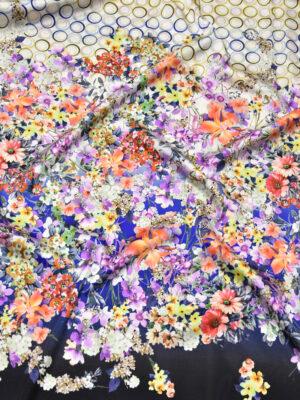 Шелк стрейч купон цветочный бордюр горох (2620) - Фото 16