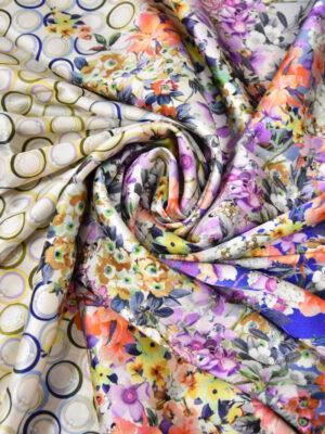 Шелк стрейч купон цветочный бордюр горох (2620) - Фото 17