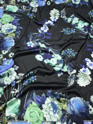 Шелк стрейч купон черный с цветами (2630) - Фото 17